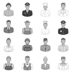 Professions icons set in black monochrome style. People activities set collection vector illustration