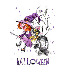 Little witch in purple dress.  Illustration about  Halloween. Image to print on fabric.
