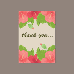 Thank you cartoon card made of floral background in pink colors