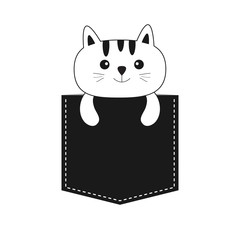 Cat in the pocket. Cute cartoon kitten contour kitty character. Dash line. Pet animal collection. White and black color. T-shirt design. Baby background. Isolated. Flat