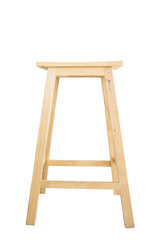 Wooden bar stool on white background