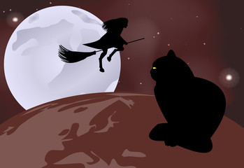 Vector illustration of a black cat sitting on the globe and a witch flying over it on a moonlit night in celebration of Halloween