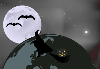 Vector illustration of bats and a witch with a pumpkin flying over the globe on a moonlit night in Halloween celebration
