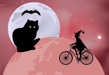 Vector illustration of a large black cat sitting on the globe and the witch rides around the globe on a bicycle on a moonlit night in Halloween celebration