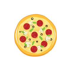 Pizza vector icon isolated on white background, flat cartoon round pizza top view