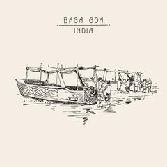 India Baga Beach sketch drawing with two boats ashore