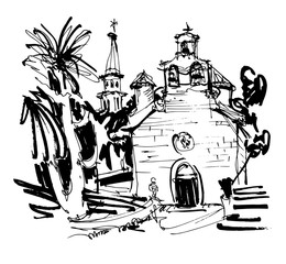 ink drawing of historic church in with palm in Budva Montenegro
