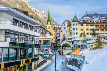 Ischgl village center. / Ischgl is famous european ski resort, winter in Austria, Europe. Wall mural