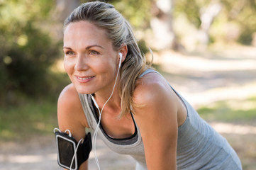 Mature woman jogging