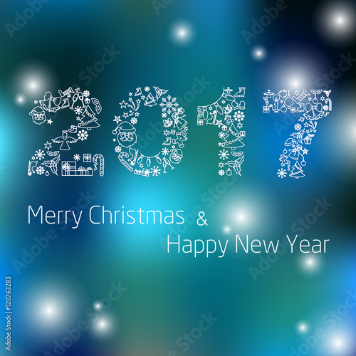 happy new year 2017 background calendar template colorful hand drawn paper typeface on