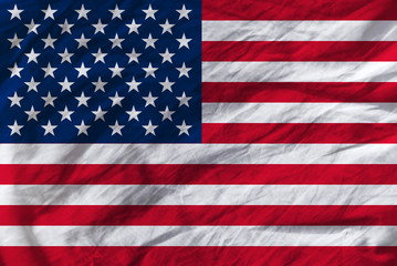 United States of America crumpled flag