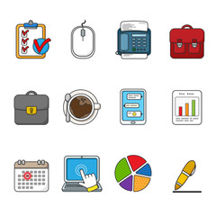 Vector business icons set. Color outlined icon collection. Tablet, mouse, fax, case, coffee cup, smartphone, calendar, laptop, graphics, pen, messages.