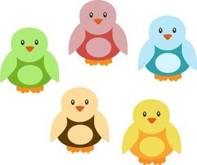 Set of colorful cartoon cute birds