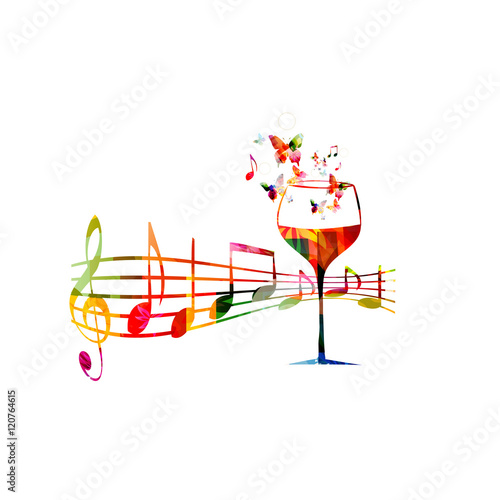 Creative Music Style Template Vector Illustration Colorful Wine