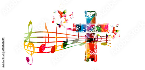 Creative Music Style Template Vector Illustration Colorful Cross With Staff And Notes Background