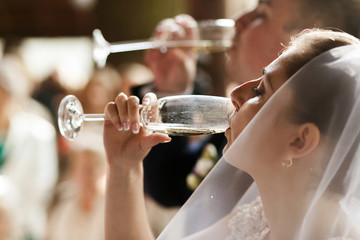 Happy stylish bride and groom drinking champagne