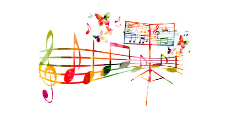 Creative music style template vector illustration, colorful music stand with music staff and notes, choir singing background. Design for poster, brochure, banner, concert, festival and music shop