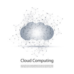 Black and White Minimal Cloud Computing, Networks Structure, Telecommunications Concept Design With Transparent Geometric Wireframe - Vector Illustration