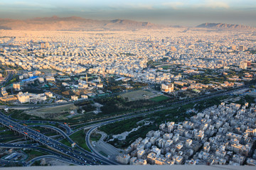Aerial view of Tehran city from Milad tower at sunset, Iran