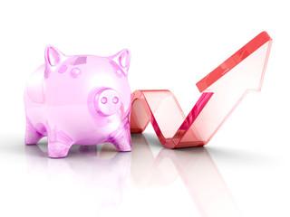 Piggy Money Bank With Growing Up Rising Arrow. Success Investmen