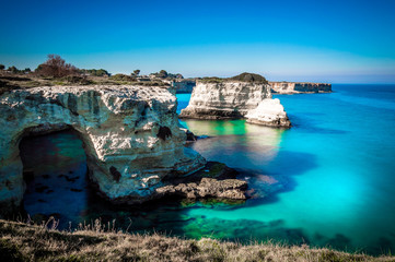 Scenic View Of Sea Against Clear Sky in Sant'Andrea, Salento, Puglia