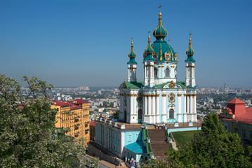 Wall Murals Kiev Saint Andrew's Church against blue sky background