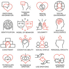 Vector set of 16 icons related to business management, strategy, career progress and business process. Mono line pictograms and infographics design elements - part 19