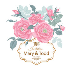 Vector wedding invitation template with roses.
