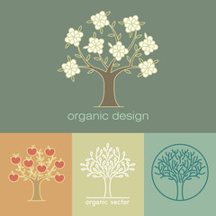 Set of vector decorative tree images.