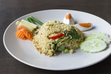 Fried rice with green curry, Thai Food