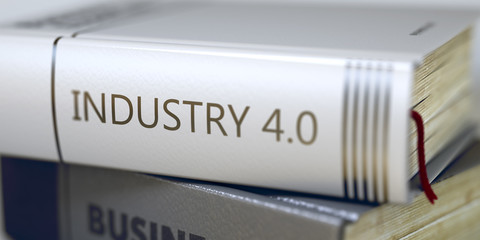 Book Title on the Spine - Industry 40. 3D Illustration.