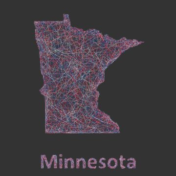 Minnesota line art map