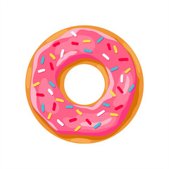 donut with pink glaze. donut icon,  donut vector illustration