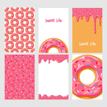Set of bright food cards. Set of donuts with chocolate glaze. Donut seamless pattern.