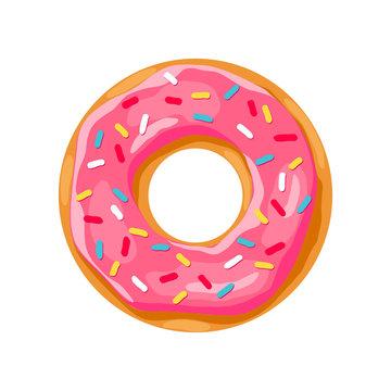 donut with pink glaze. donut icon,  donut vector illustration