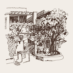 sketch drawing of Slovenska Plaza hotel street in Budva, Montene