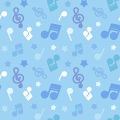 ポップな音符イラスト柄 繰り返しシームレスパターン ブルー系