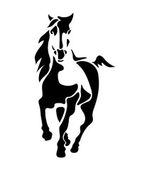 Horse. Prancing stallion - isolated black and white illustration like logo or symbol, template