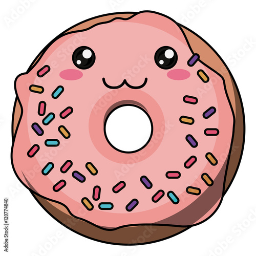 Quot Donut With Kawaii Face Icon Cute Cartoon And Character