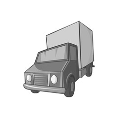Truck icon in black monochrome style on a white background vector illustration