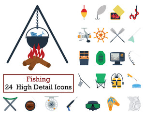 Set of 24 Fishing Icons