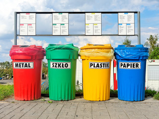Color coded trash bins for waste segregation described in languages: Polish, English and German