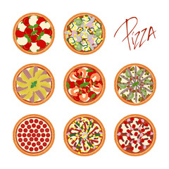Set of different pizza types with various ingredients on white background with handwritten caption pizza. Vector illustration