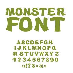 Monster font. Green Swamp letters. Horrible alphabet. Scary Abst