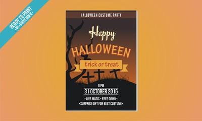 orange black flyer halloween template vector