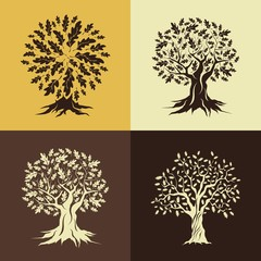 Beautiful oak trees silhouette set isolated on color background. Web graphics modern vector sign. 