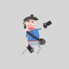 3d illustration. Photographer man with two cameras