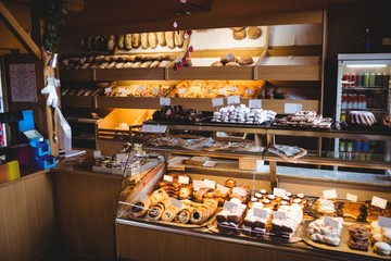 Various sweet foods in bakery shop