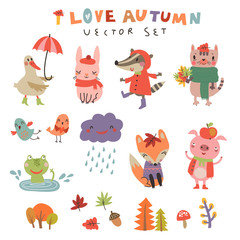 Cute autumn set with the characters . Vector illustration with cute animals