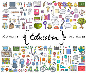 Vector set with hand drawn isolated colored doodles on the  theme of education